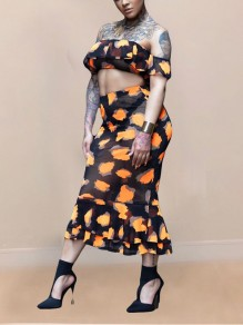 Orange Leopard Print Off Shoulder Ruffle Bodycon Two Piece Sheer Party Maxi Dress