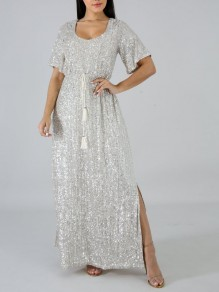 White Patchwork Sequin Belt Tassel Sparkly Glitter Slit Birthday Prom Evening Party Maxi Dress
