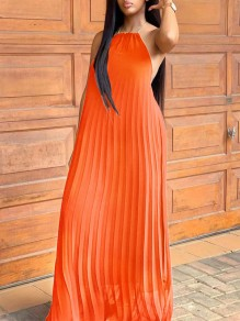 Orange Halter Neck Pleated Backless Bohemian Beachwear Maxi Dress