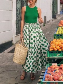 Green Polka Dot Pleated False 2-in-1 Bohemian Beachwear Maxi Dress