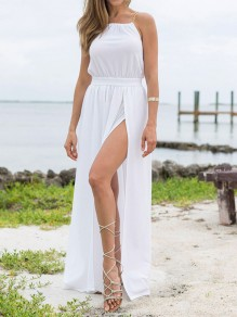 White Chain Draped Side Slit Sleeveless Bohemian Maxi Dress