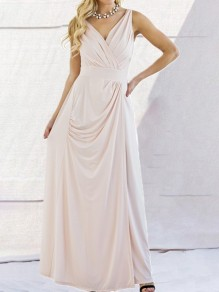 Pink Draped Backless Chiffon V-neck Sleeveless Elegant Maxi Dress