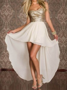 Beige Patchwork Bandeau Sequin Sparkly Draped Chiffon High-low Elegant Homecoming Prom Maxi Dress