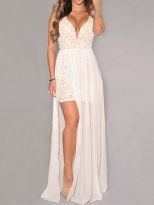 White Patchwork Lace Draped Backless Chiffon Side Slit Deep V-neck Elegant Maxi Dress