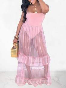 Pink Patchwork Grenadine Ruffle Spaghetti Strap Backless Sheer Elegant Party Maxi Dress