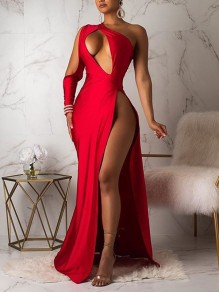 Red Asymmetric Shoulder Cut Out Thigh High Side Slits Prom Evening Party Maxi Dress