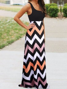 Black Print Going out Fashion One Piece Maxi Dress