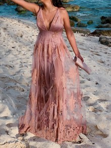 Pink Patchwork Lace Cross Back Draped Spaghetti Strap Deep V-neck Elegant Maxi Dress