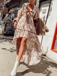 Beige Floral Irregular Sashes Deep V-neck Swallowtail High-low Half Sleeve Flowy Bohemian Maxi Dress