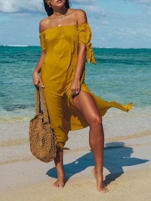 Yellow Irregular Off Shoulder Thigh High Side Slits Flowy Beach Maxi Dress