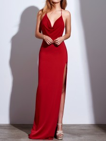 Red Draped Side Slit Halter Neck Backless V-neck Elegant Maxi Dress