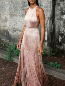 Rose Gold Tassel Fashion One Piece Cocktail Party Maxi Dress