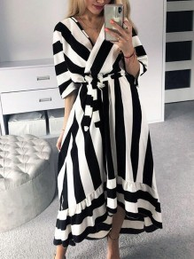 Black-White Striped Belt Pleated Dolman Sleeve V-neck High-Low Party Maxi Dress