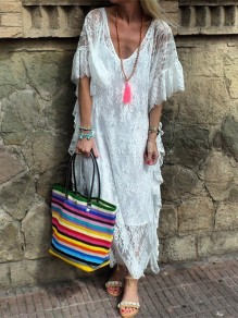 White Patchwork Lace Irregular V-neck Going out Maxi Dress