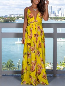 Yellow Floral Condole Belt Side Split V-neck Bohemian Maxi Dress