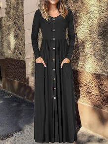Black Single Breasted Long Sleeve V-neck Casual Fashion Women Maxi Dress