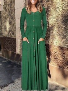 Green Single Breasted Long Sleeve V-neck Casual Fashion Women Maxi Dress
