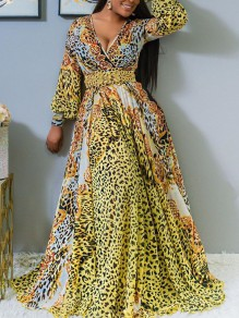 Yellow Leopard Print Pleated V-neck Long Sleeve Bohemian Beachwear Maxi Dress