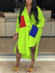 Neon Green Buttons Pockets High-Low Casual Maxi Dress