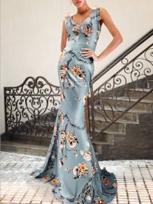 Blue Floral Bodycon Mermaid V-neck Prom Evening Party Maxi Dress