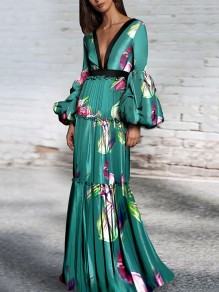 Blue Floral Pleated Lantern Sleeve Bodycon Mermaid V-neck Prom Evening Party Maxi Dress