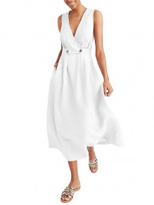 White Wrap Breasted V-neck Solid Casual Women Flowy Summer Maxi Dress