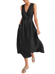 Black Wrap Breasted V-neck Solid Casual Women Flowy Summer Maxi Dress