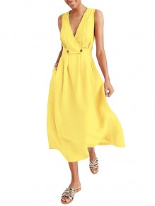 Yellow Wrap Breasted V-neck Solid Casual Women Flowy Summer Maxi Dress