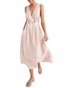 Pink Wrap Breasted V-neck Solid Casual Women Flowy Summer Maxi Dress