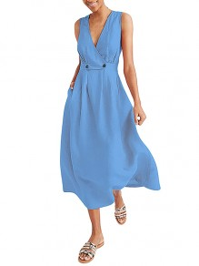 Light Blue Wrap Breasted V-neck Solid Casual Women Flowy Summer Maxi Dress