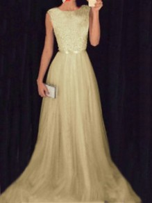Beige Patchwork Grenadine Sequin Pleated Sparkly Glitter Birthday Prom Evening Party Maxi Dress