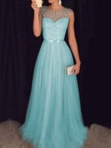 Sky Blue Patchwork Grenadine Sequin Pleated Sparkly Glitter Birthday Prom Evening Party Maxi Dress