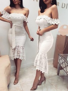 White Floral Lace Sashes Off Shoulder Backless High-low Banquet Wedding Party Maxi Dress