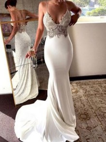 White Patchwork Lace Bronzing Cross Back Deep V-neck Mermaid Spaghetti Straps Wedding Prom Party Maxi Dress