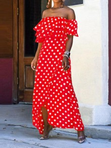 Red Polka Dot Cascading Ruffle Irregular High-low Flowy Bohemian Maxi Dress