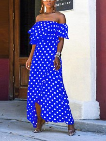 Blue Polka Dot Cascading Ruffle Irregular High-low Flowy Bohemian Maxi Dress
