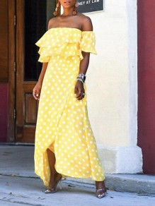 Yellow Polka Dot Cascading Ruffle Irregular High-low Flowy Bohemian Maxi Dress