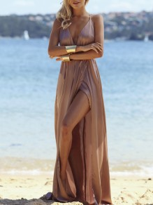 Khaki Slit Side Backless Deep V-neck Bodycon Cocktail Party Comfy Maxi Dress
