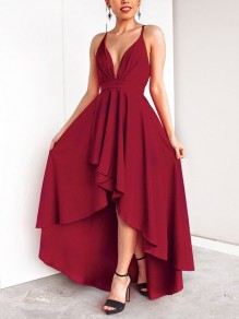 Burgundy Pleated Irregular High-Low V-neck Spaghetti Strap Party Maxi Dress