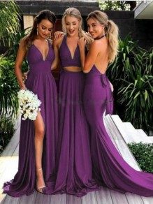 Purple Print Fashion One Piece Cocktail Party Maxi Dress