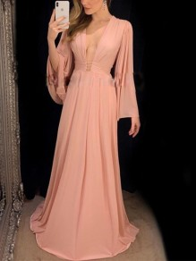 Pink Ruffle Deep V-neck Flare Sleeve Fashion Cocktail Party Maxi Dress