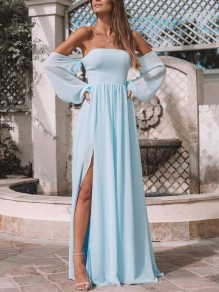 Blue Ruffle Fashion One Piece Cocktail Party Maxi Dress