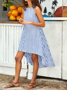 Blue Striped Irregular High-Low Round Neck Sleeveless Fashion Casual Beach Maxi Dress
