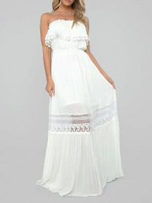 White Patchwork Ruffle Grenadine Bandeau Backless Party Maxi Dress