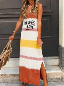 Brown Rainbow Striped Side Slits Bohemian Beachwear Maxi Dress
