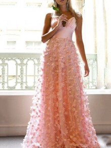 Pink Patchwork Grenadine Lace Pleated Spaghetti Strap V-neck Prom Evening Party Maxi Dress