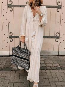 White Patchwork Tassel V-neck Long Sleeve Fashion Casual Bohemian Beach Maxi Dress