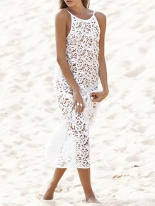 White Patchwork Lace Cut Out Backless Bohemian Maxi Dresses