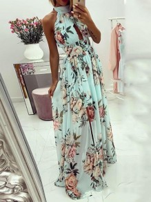 Light Green Floral Halter Neck Cut Out Pleated Backless Bohemian Beachwear Maxi Dress