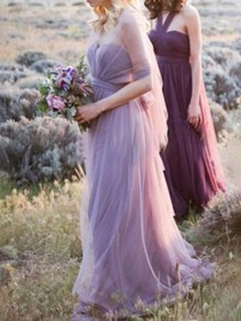 Purple Belt Grenadine Tulle V-neck Sleeveless Flowy Elegant Party Bridesmaid Maxi Dress